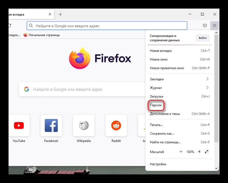 Переход во вкладку паролей в браузере Firefox если забыли пароль ВК