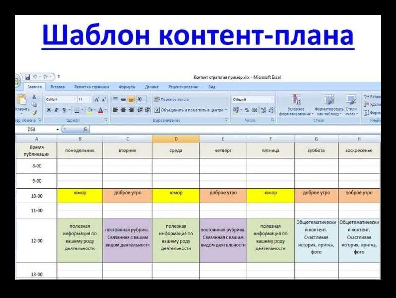 Шаблон составления контант плана для группы ВКонтакте