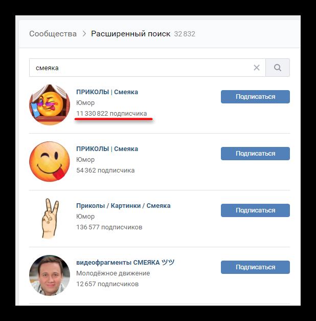Зависимость места в ТОПе выдачи ВК от количеств подписчиков