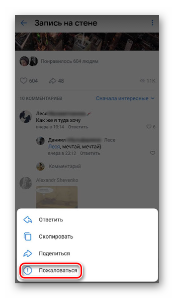 Жалоба на комментарий пользователя в ВК