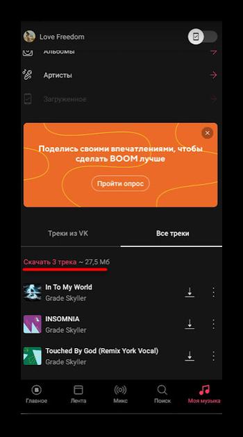 Подсчет количества музыки в приложении Boom для ВК