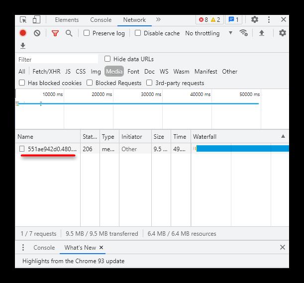 Ссылка для скачивания видео из ВК в коде элемента